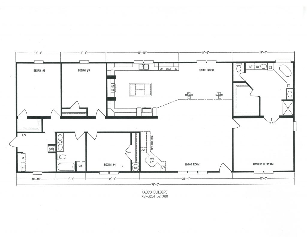 Kb 3231 kabco builders Double wide floor plans with basement